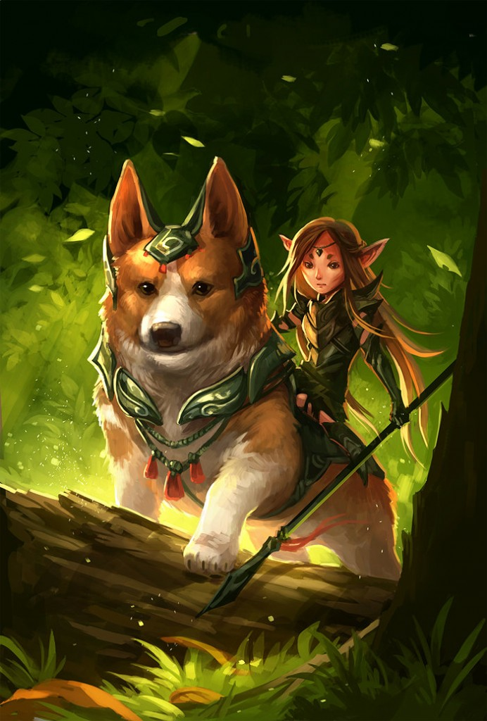 corgi_and_fairy_by_sandara-d5vh6by