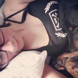 doberman cuddles